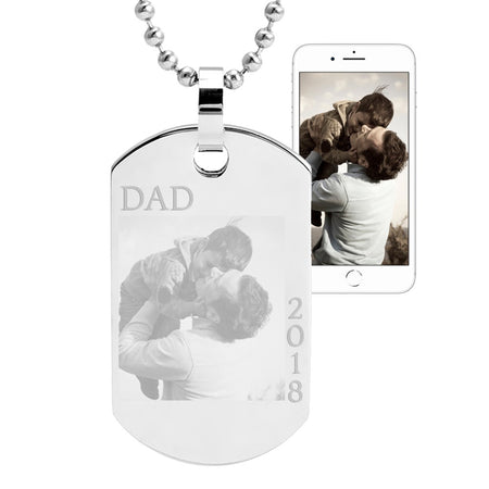 Father's Day Photo Dog Tag Pendant