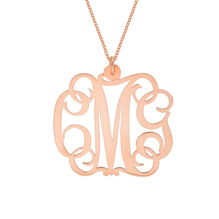 display slide 1 of 7 - Fancy Script Rose Gold Vermeil Monogram Necklace - selected slide