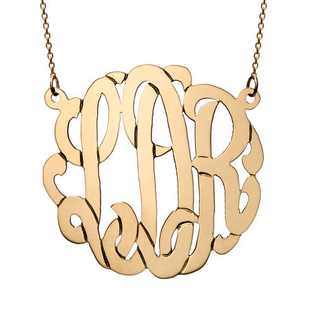 Custom 10K Solid Gold Monogram Necklace
