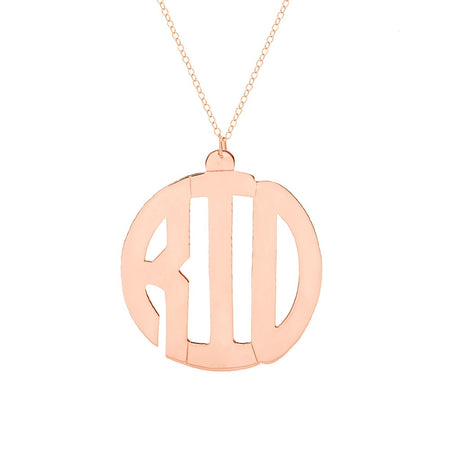 Rose Gold Vermeil Block Style Monogram Necklace