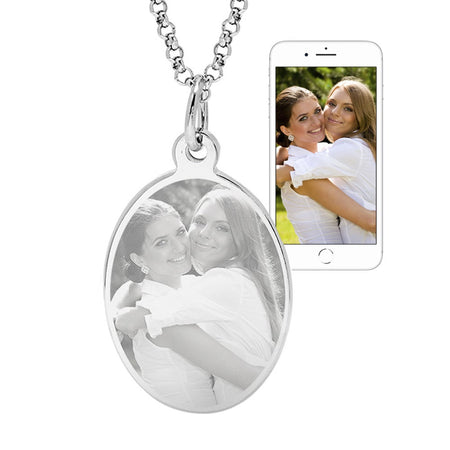 Stainless Steel Oval Tag Photo Pendant