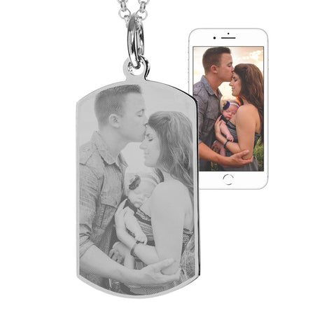 Stainless Steel Dog Tag Photo Necklace