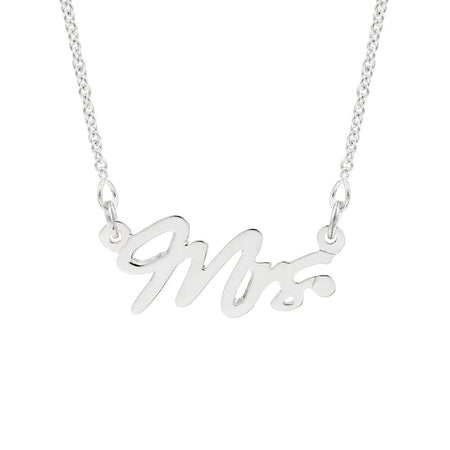Just Married Mrs Sterling Silver Wedding Necklace