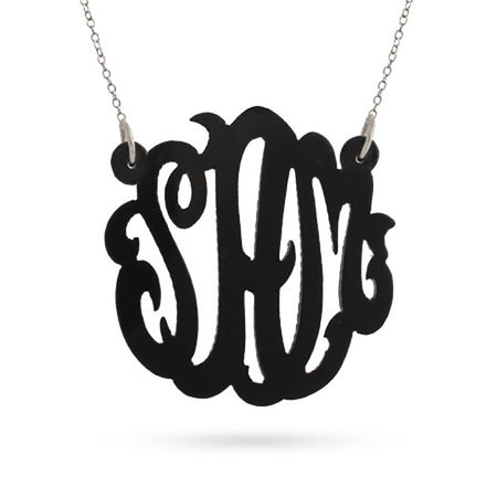 Black Acrylic Monogram Necklace