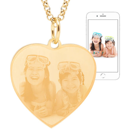 display slide 1 of 5 - Gold Plated Stainless Steel Heart Photo Pendant - selected slide