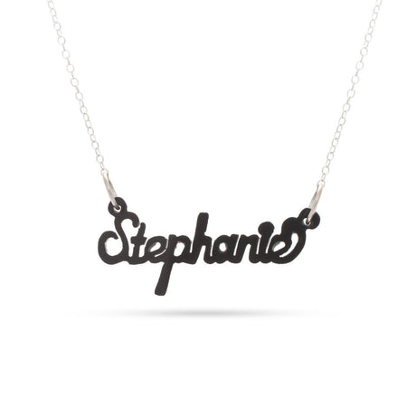 display slide 1 of 2 - Script Style Black Acrylic Name Necklace - selected slide