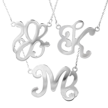 display slide 1 of 6 - Single Initial Script Style Sterling Silver Monogram Necklace - selected slide
