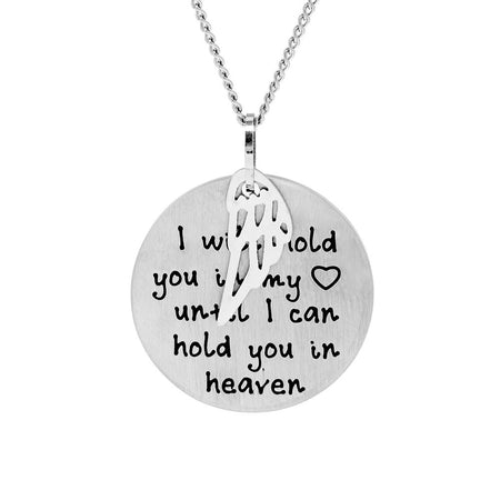 display slide 1 of 4 - Hold You in My Heart Bereavement Engravable Necklace - selected slide