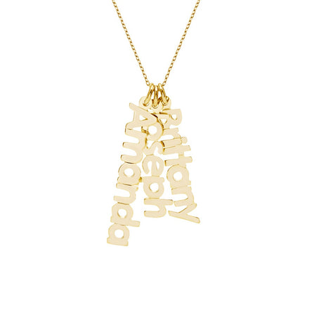 display slide 1 of 5 - Dangling Family Nameplate Gold Vermeil Necklace - selected slide