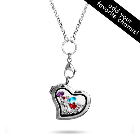 display slide 1 of 2 - Heart Shaped Floating Charm Locket - selected slide