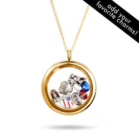 display slide 1 of 2 - Gold Round Glass Floating Charm Locket - selected slide