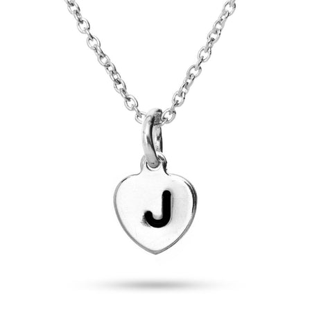 Hand Stamped Heart Initial Necklace