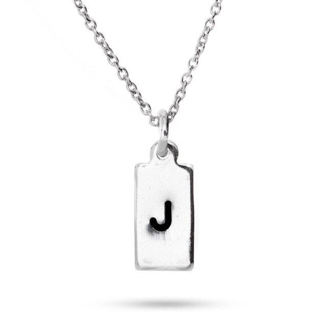 Hand Stamped Rectangle Tag Mini Initial Necklace