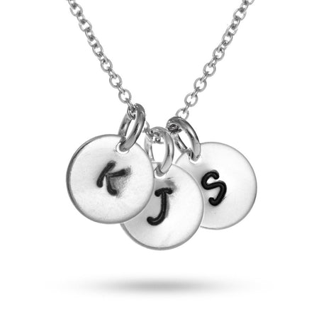 Hand Stamped Triple Tag Mini Initial Necklace