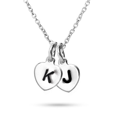 Hand Stamped Double Heart Initial Necklace