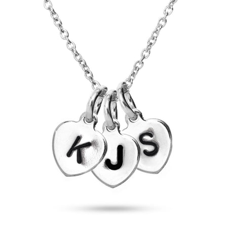 Hand Stamped Three Initial Heart Necklace