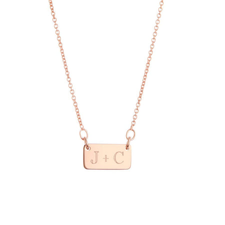 Couple's Initial Rose Gold Bar Necklace