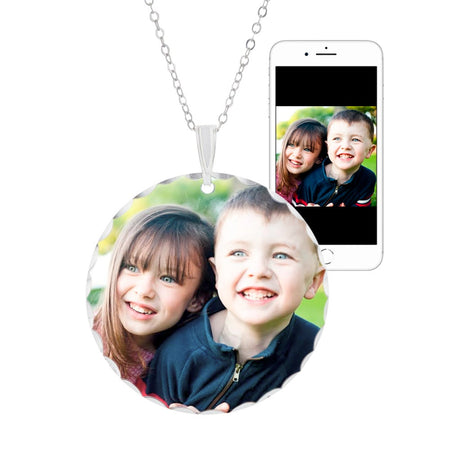 Large Round Color Photo Necklace