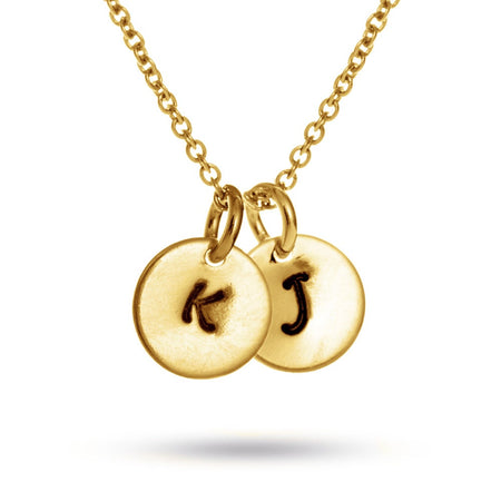Hand Stamped Gold Vermeil Two Circle Initial Necklace