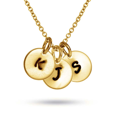 Hand Stamped Three Initial Charm Gold Plated Necklace