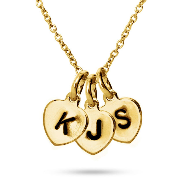 Hand Stamped Gold Vermeil Three Heart Charm Initial Necklace