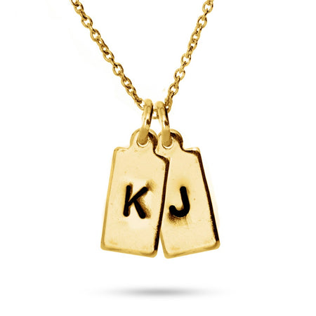 Hand Stamped Gold Vermeil Double Rectangle Tag Mini Initial Necklace