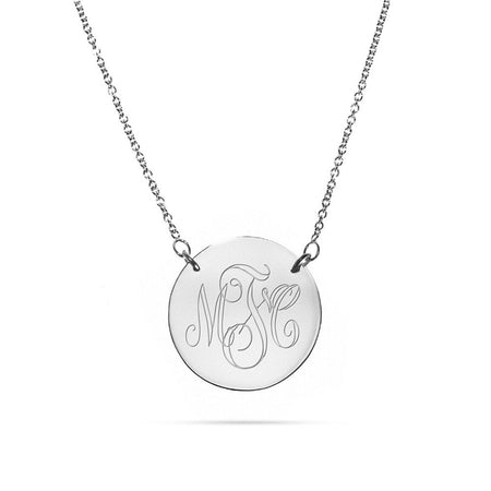 Engravable Sterling Silver Disc Necklace