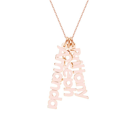 Dangling Family Nameplate Rose Gold Necklace