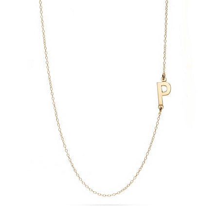 Custom 14K Gold Sideways Initial Necklace