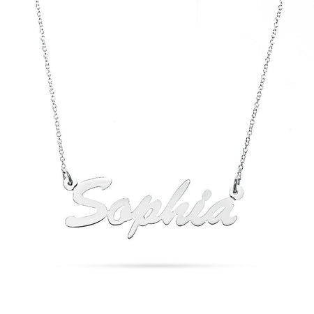14K White Gold Thin Script Name Plate Necklace