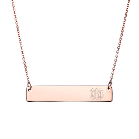 display slide 1 of 5 - Petite Script Monogram Rose Gold Bar Necklace - selected slide