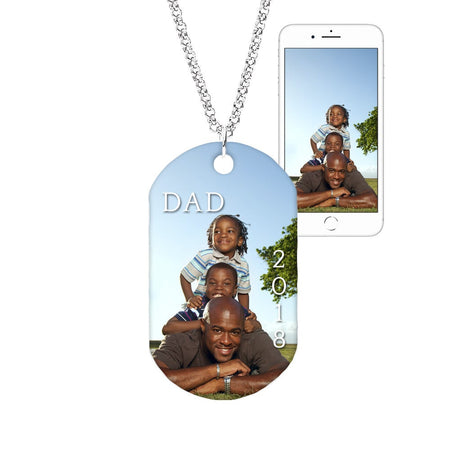 Custom Father's Day Color Photo Dog Tag Pendant
