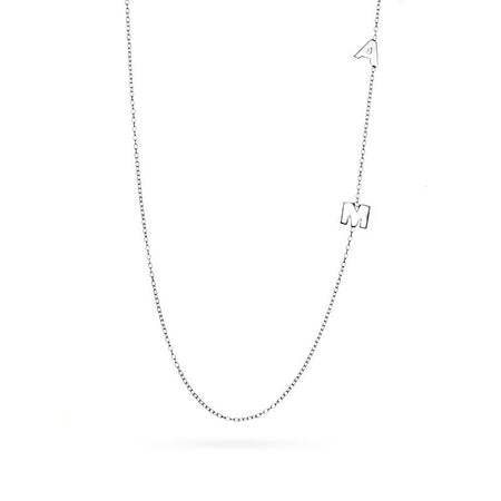 Two Letter Silver Sideways Initial Necklace