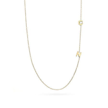 Gold Vermeil 2 Letter Sideways Initial Necklace