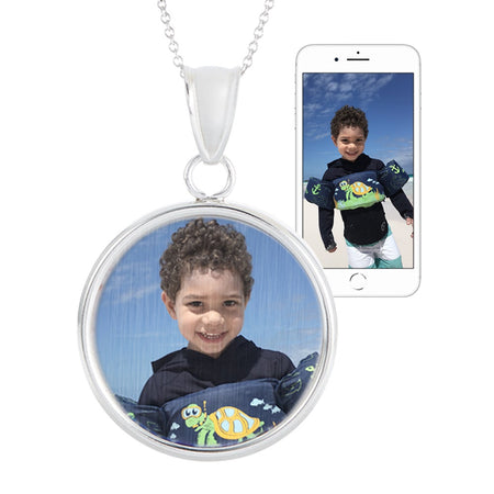 Round Silver Framed Color Photo Necklace