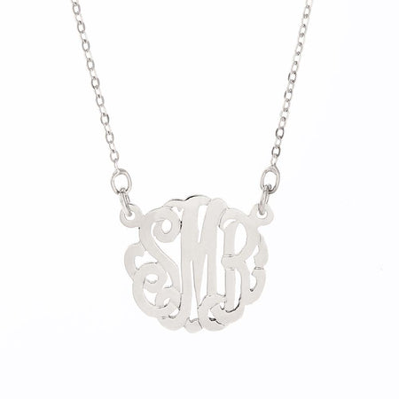 display slide 1 of 5 - Petite Monogram Silver Necklace - selected slide