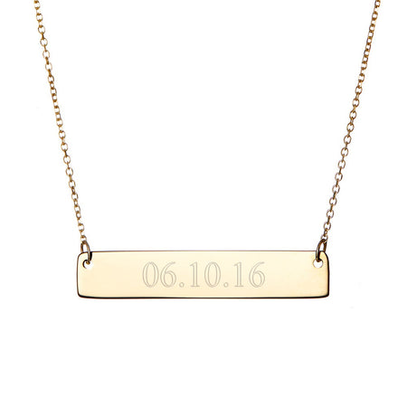 Custom Date Gold Bar Necklace