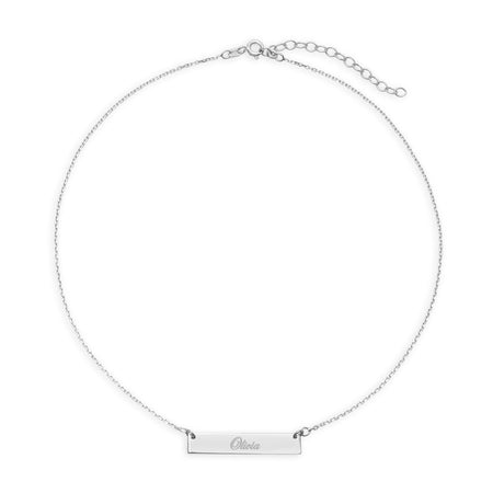 Custom Name Bar Silver Choker Necklace