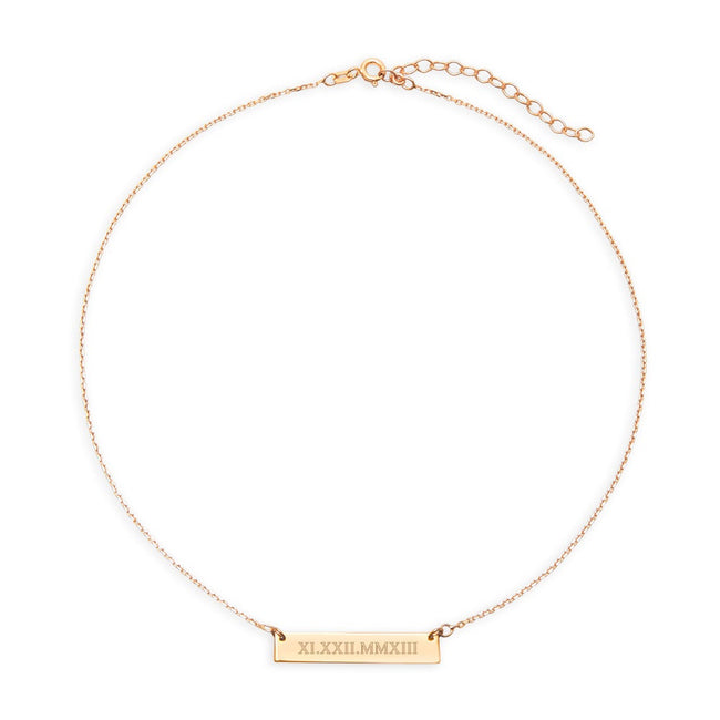 Roman Numeral Gold Name Bar Choker Necklace