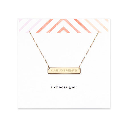 I Choose You Coordinate Gold Bar Necklace