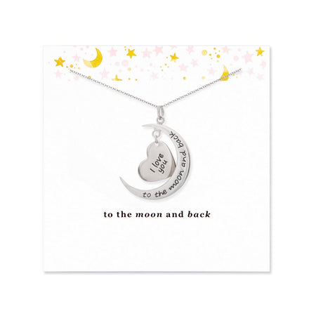 To The Moon and Back Silver Heart and Moon Necklace