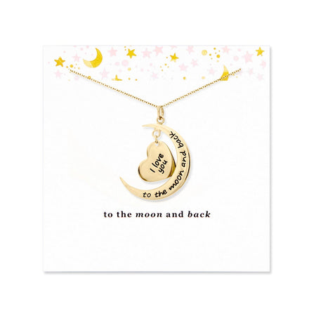 To The Moon and Back Gold Heart and Moon Necklace with Card