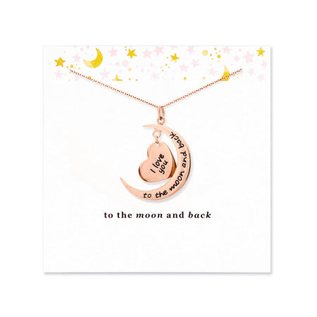 display slide 1 of 1 -  To The Moon and Back Rose Gold Necklace with Card - selected slide
