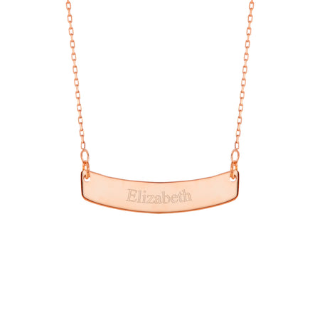 Engravable Rose Gold Curved Name Bar Necklace
