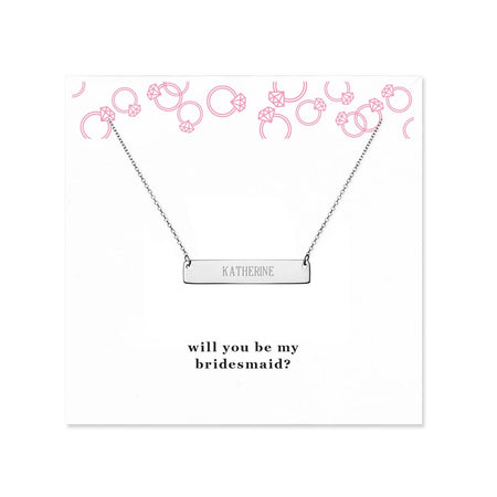 display slide 1 of 2 - Will You Be My Bridesmaid Silver Name Bar Necklace - selected slide
