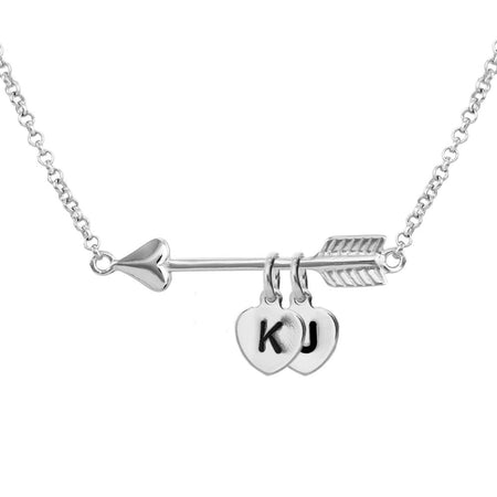 Personalized Initial Heart Charm Silver Arrow Necklace