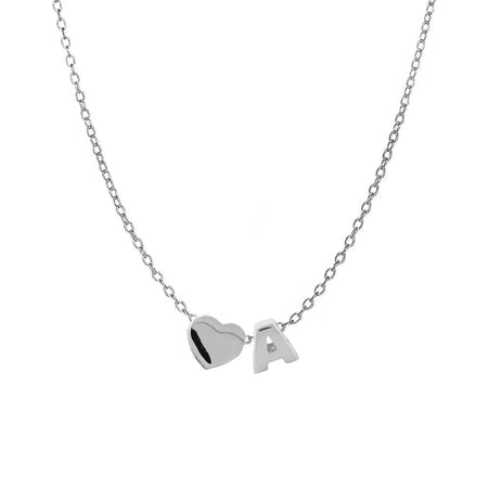 Initial and Heart Charm Necklace