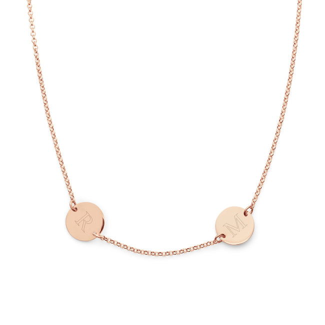 Engravable Two Initial Rose Gold Disc Necklace