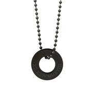 Roman Numeral Men's Black Stainless Steel Circle Pendant