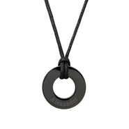 Men's Engravable Black Circle Pendant